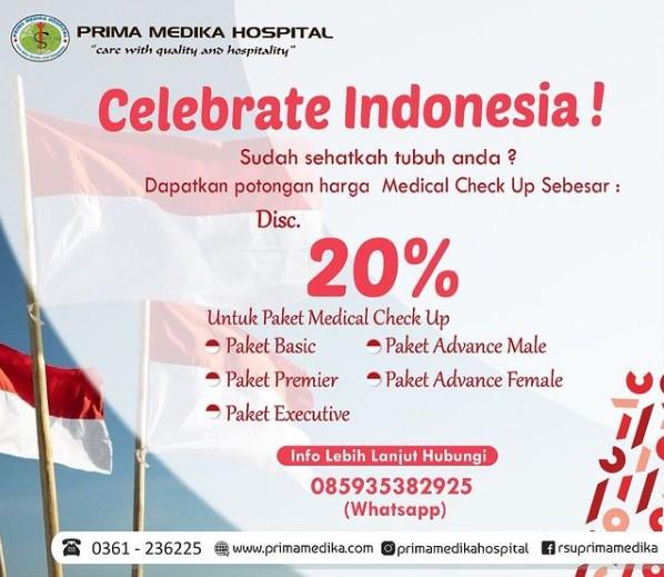 Celebrate Indonesia Dapatkan diskon 20% Paket Medical Check Up hanya di Prima Medika Hospital