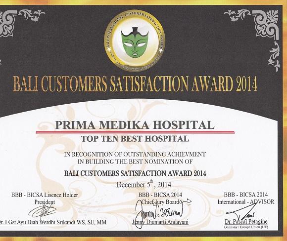 Top Ten Best Hospital - Satisfaction Award 2014